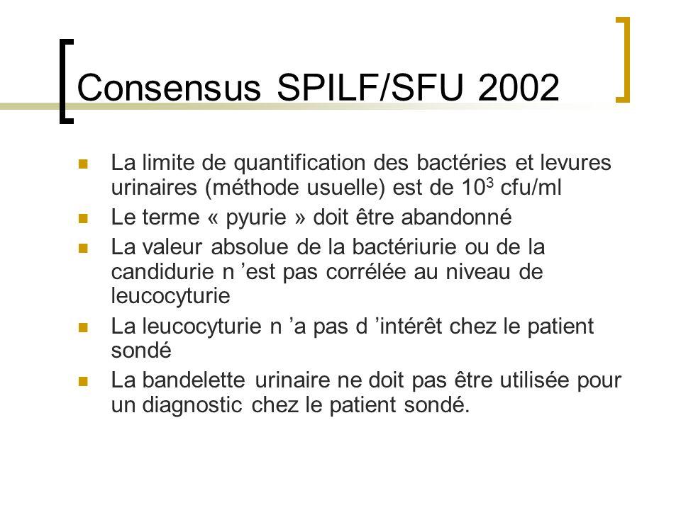 Consensus SPILF/SFU 2002 La limite de quantification des bactéries et levures urinaires (méthode usuelle) est de 10 3 cfu/ml Le terme « pyurie » doit