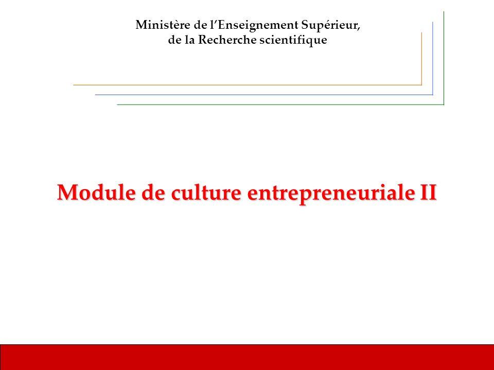 Université de MonastirModule de culture entrepreneuriale II Ministère de lEnseignement Supérieur, de la Recherche scientifique