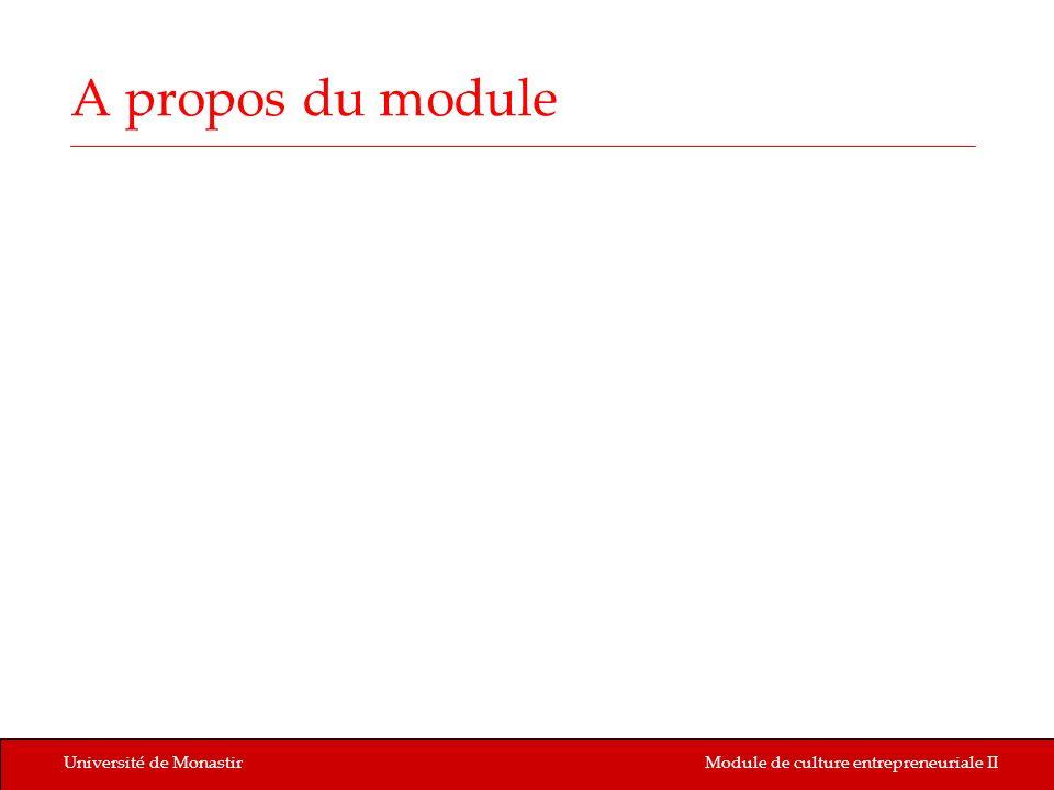 Université de MonastirModule de culture entrepreneuriale II A propos du module