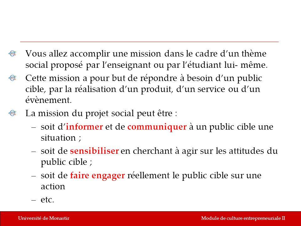 Université de MonastirModule de culture entrepreneuriale II Vous allez accomplir une mission dans le cadre dun thème social proposé par lenseignant ou