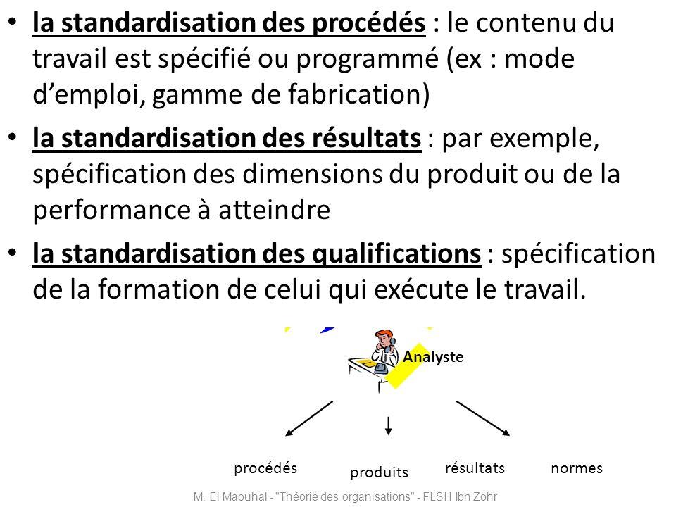 la standardisation des procédés : le contenu du travail est spécifié ou programmé (ex : mode demploi, gamme de fabrication) la standardisation des rés