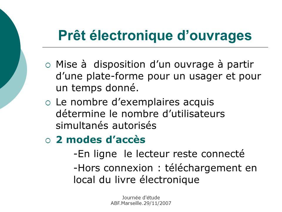Journée d étude ABF.Marseille.29/11/2007 Prêt électronique douvrages Mise à disposition dun ouvrage à partir dune plate-forme pour un usager et pour un temps donné.