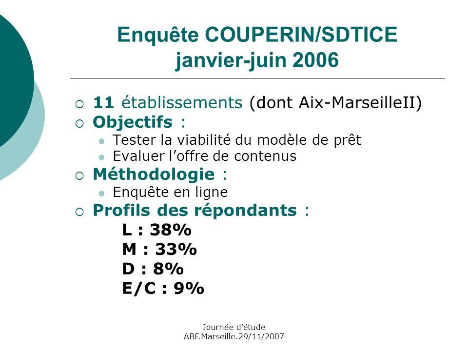 Journée d étude ABF.Marseille.29/11/2007 Enquête COUPERIN/SDTICE janvier-juin 2006 11 établissements (dont Aix-MarseilleII) Objectifs : Tester la viabilité du modèle de prêt Evaluer loffre de contenus Méthodologie : Enquête en ligne Profils des répondants : L : 38% M : 33% D : 8% E/C : 9%