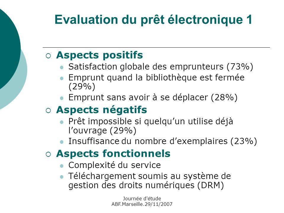 Journée d étude ABF.Marseille.29/11/2007 Evaluation du prêt électronique 1 Aspects positifs Satisfaction globale des emprunteurs (73%) Emprunt quand la bibliothèque est fermée (29%) Emprunt sans avoir à se déplacer (28%) Aspects négatifs Prêt impossible si quelquun utilise déjà louvrage (29%) Insuffisance du nombre dexemplaires (23%) Aspects fonctionnels Complexité du service Téléchargement soumis au système de gestion des droits numériques (DRM)