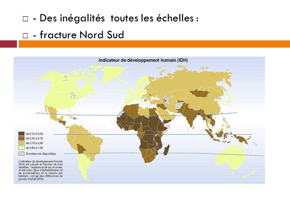 - Des inégalités toutes les échelles : - fracture Nord Sud
