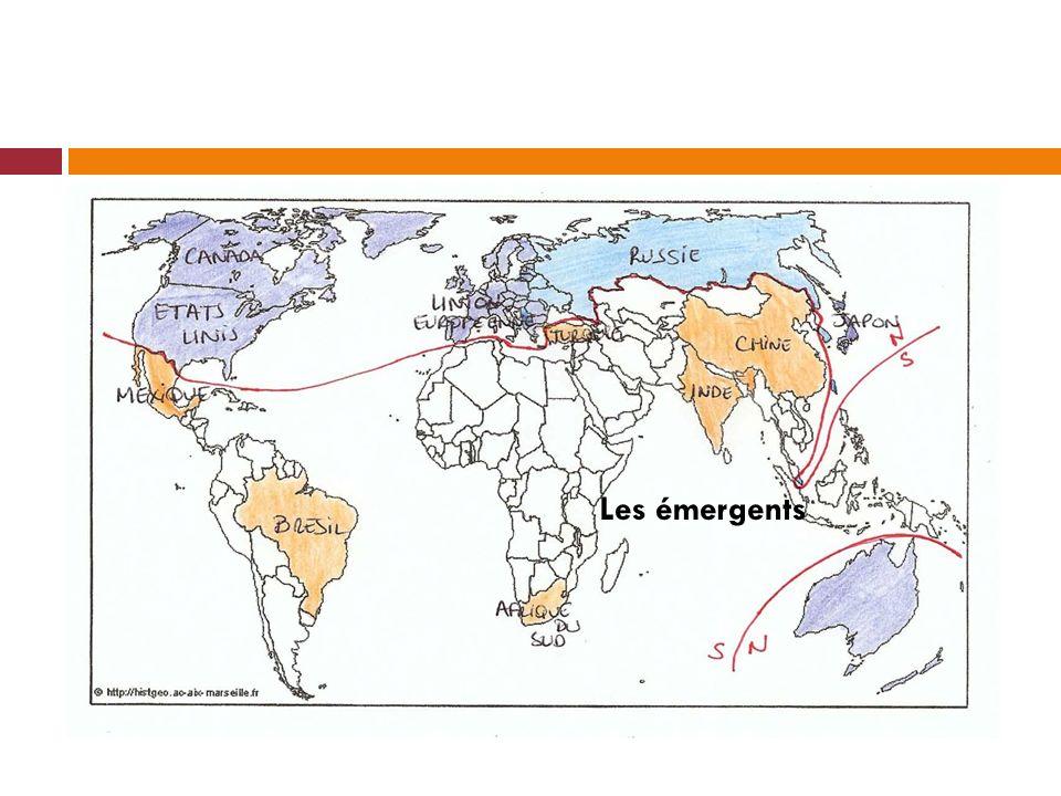 Lorganisation de lespace mondialisé Ja Etats Unis Union Européenne Pôle de la triadeVille – monde Japon New-York Paris Londres Tokyo II- les espaces intégrés à la mondialisation Les métropoles relais Espaces participants aux échanges mondiaux