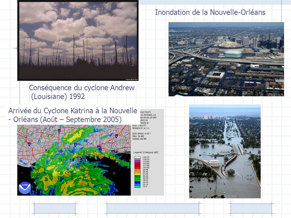 Arrivée du Cyclone Katrina à la Nouvelle - Orléans (Août – Septembre 2005) Conséquence du cyclone Andrew (Louisiane) 1992 Inondation de la Nouvelle-Or