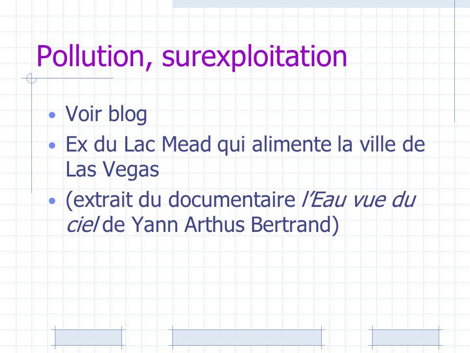 Pollution, surexploitation Voir blog Ex du Lac Mead qui alimente la ville de Las Vegas (extrait du documentaire lEau vue du ciel de Yann Arthus Bertra
