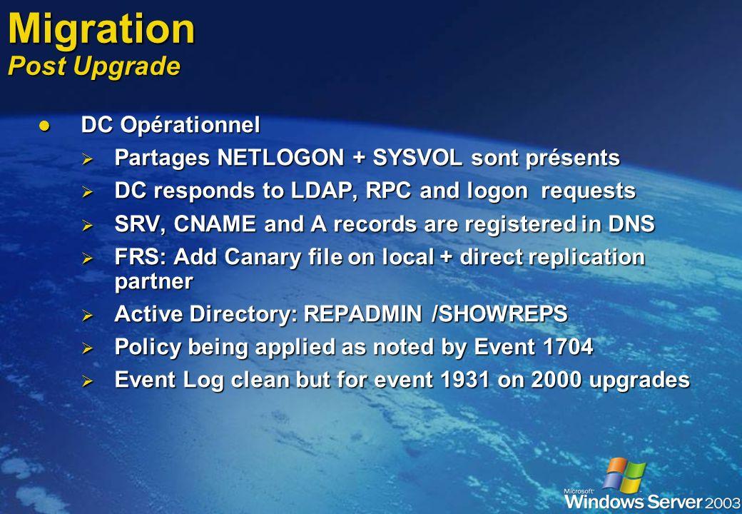 9.Installation et configuration du lmbridge Windows Server 2003 ne possède plus de lmrepl mais sysvol (par le biais de frs) Copiez tous les scripts lo