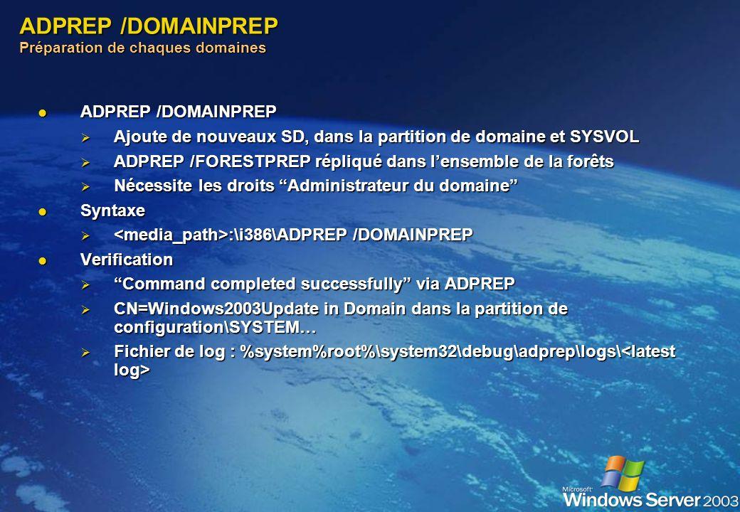 ADPREP /FORESTPREP Préparation de la fôret ADPREP /FORESTPREP ADPREP /FORESTPREP Ajoute de nouveaux SD, attributs, et objets Ajoute de nouveaux SD, at