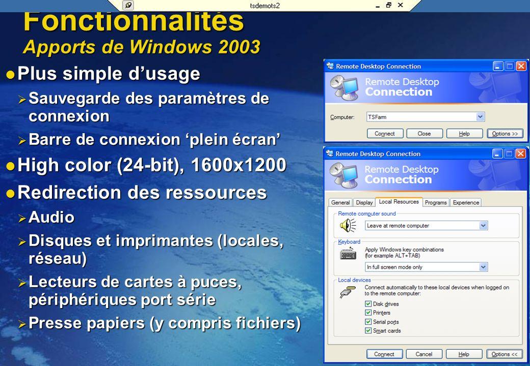 Flux RDP Terminal Services Client RDP (mstsc.exe) Presentation Clipboard Une architecture extensible Virtual Channel Extension DLL App.exe VirtualChan