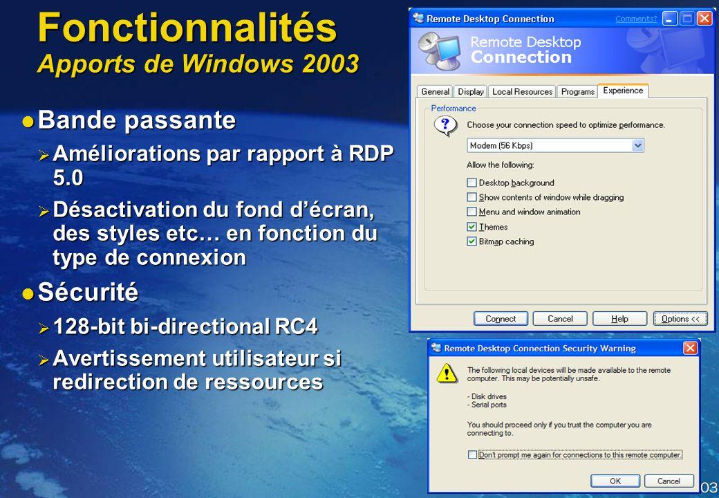 Fonctionnalités Apports de Windows 2003 Plus simple dusage Plus simple dusage Sauvegarde des paramètres de connexion Sauvegarde des paramètres de conn