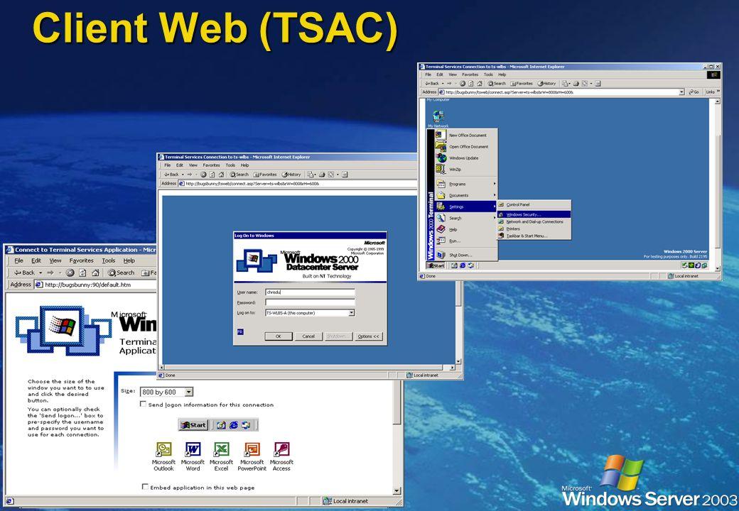 Client Web (TSAC) Fonctionne avec Internet Explorer 4, 5 et 6 Fonctionne avec Internet Explorer 4, 5 et 6 Avantages Avantages Pas dinstallation de cli