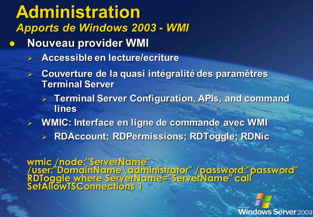 Administration Apports de Windows 2003 - Group Policies Configuration des paramètres de connexion Configuration des paramètres de connexion Pour des g
