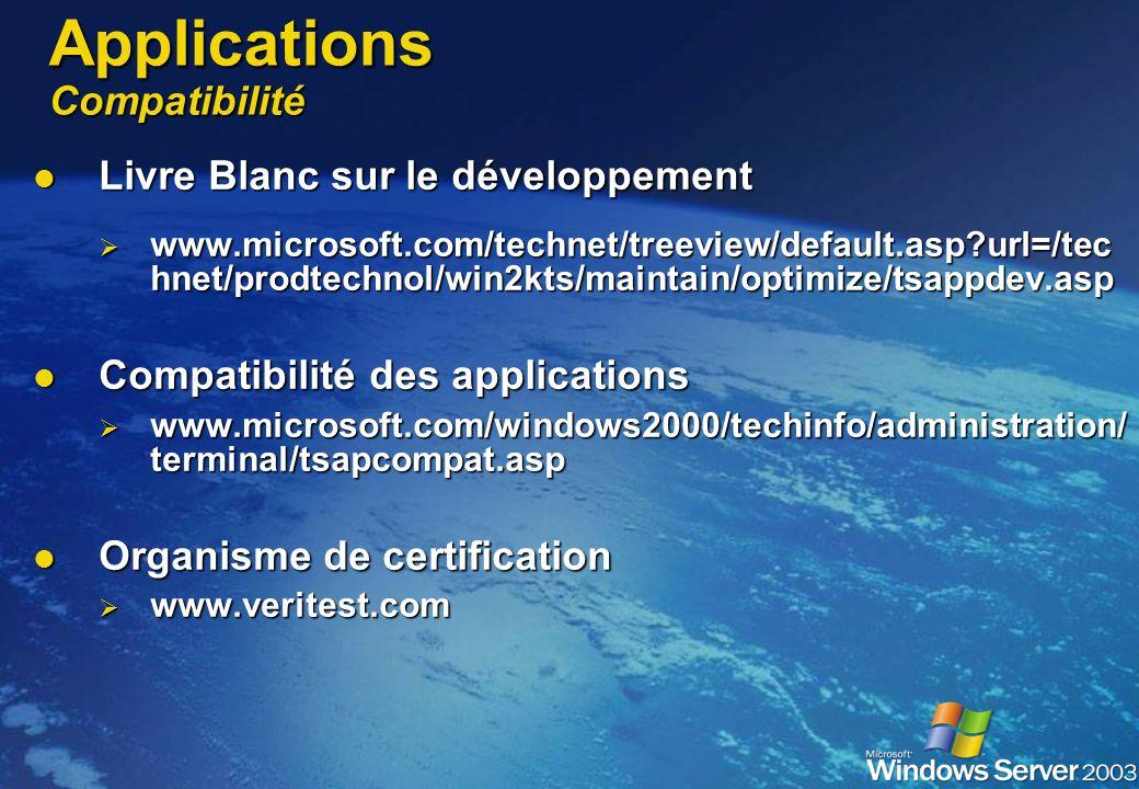 Applications Installation Installation en mode partagé Installation en mode partagé Via Ajout/suppression de programmes -> pour tous les utilisateurs
