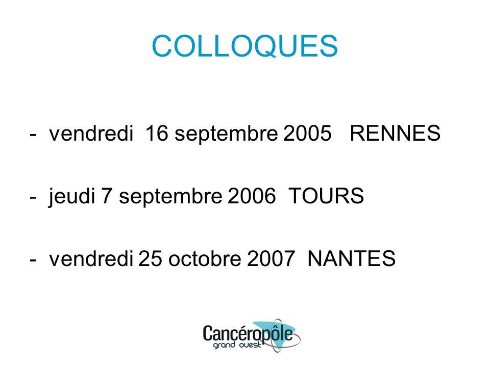 COLLOQUES - vendredi 16 septembre 2005 RENNES - jeudi 7 septembre 2006 TOURS - vendredi 25 octobre 2007 NANTES