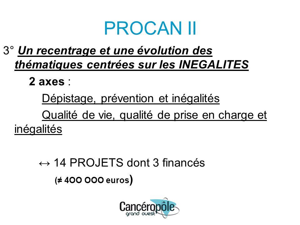 PROCAN II 3° Un recentrage et une évolution des thématiques centrées sur les INEGALITES 2 axes : Dépistage, prévention et inégalités Qualité de vie, q