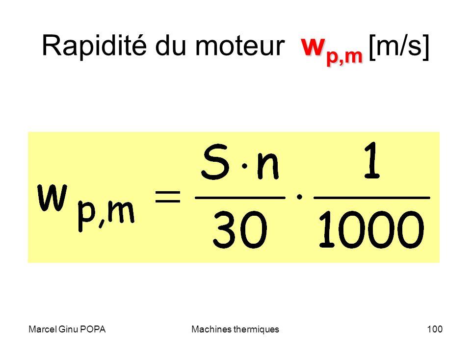 Marcel Ginu POPAMachines thermiques100 w p,m Rapidité du moteur w p,m [m/s]