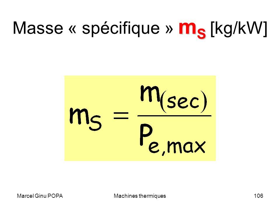 Marcel Ginu POPAMachines thermiques106 m S Masse « spécifique » m S [kg/kW]