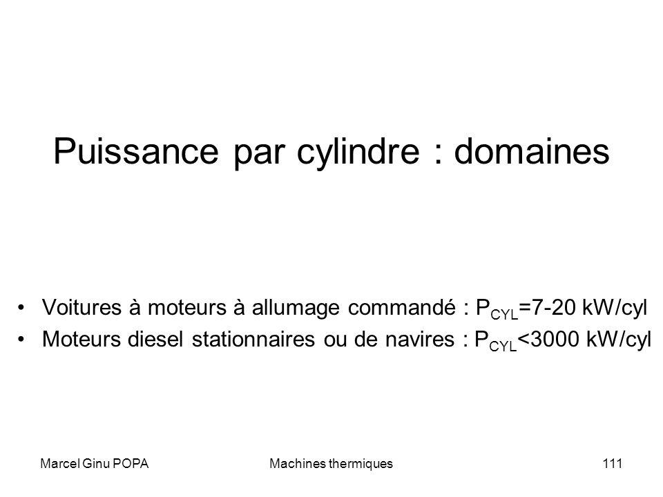 Marcel Ginu POPAMachines thermiques111 Puissance par cylindre : domaines Voitures à moteurs à allumage commandé : P CYL =7-20 kW/cyl Moteurs diesel st