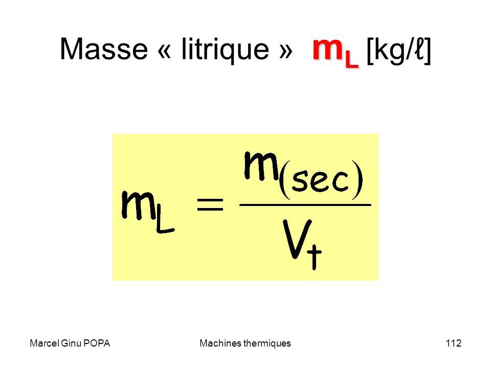 Marcel Ginu POPAMachines thermiques112 m L Masse « litrique » m L [kg/]
