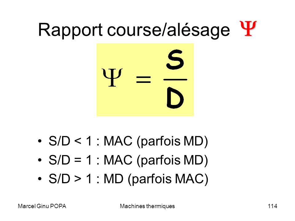 Marcel Ginu POPAMachines thermiques114 Rapport course/alésage S/D < 1 : MAC (parfois MD) S/D = 1 : MAC (parfois MD) S/D > 1 : MD (parfois MAC)