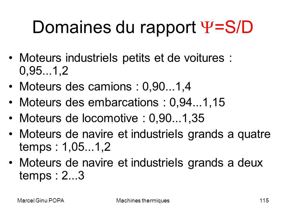Marcel Ginu POPAMachines thermiques115 Domaines du rapport =S/D Moteurs industriels petits et de voitures : 0,95...1,2 Moteurs des camions : 0,90...1,