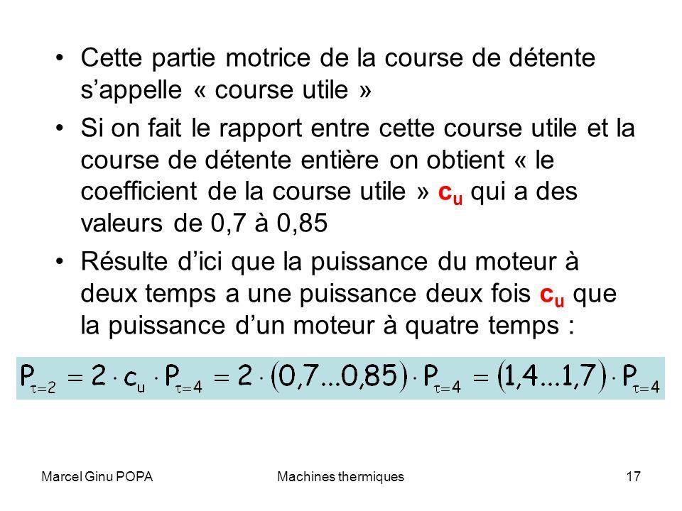 Marcel Ginu POPAMachines thermiques17 Cette partie motrice de la course de détente sappelle « course utile » Si on fait le rapport entre cette course