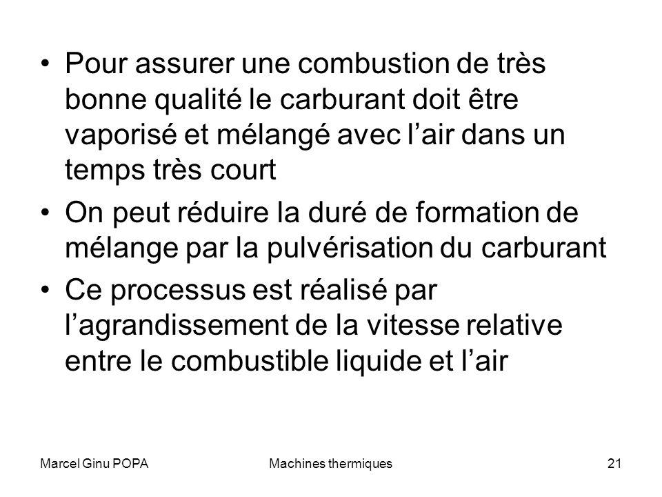 Marcel Ginu POPAMachines thermiques21 Pour assurer une combustion de très bonne qualité le carburant doit être vaporisé et mélangé avec lair dans un t