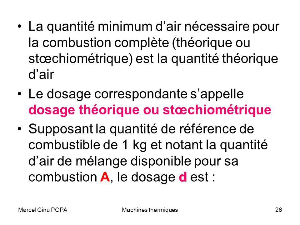Marcel Ginu POPAMachines thermiques26 La quantité minimum dair nécessaire pour la combustion complète (théorique ou stœchiométrique) est la quantité t
