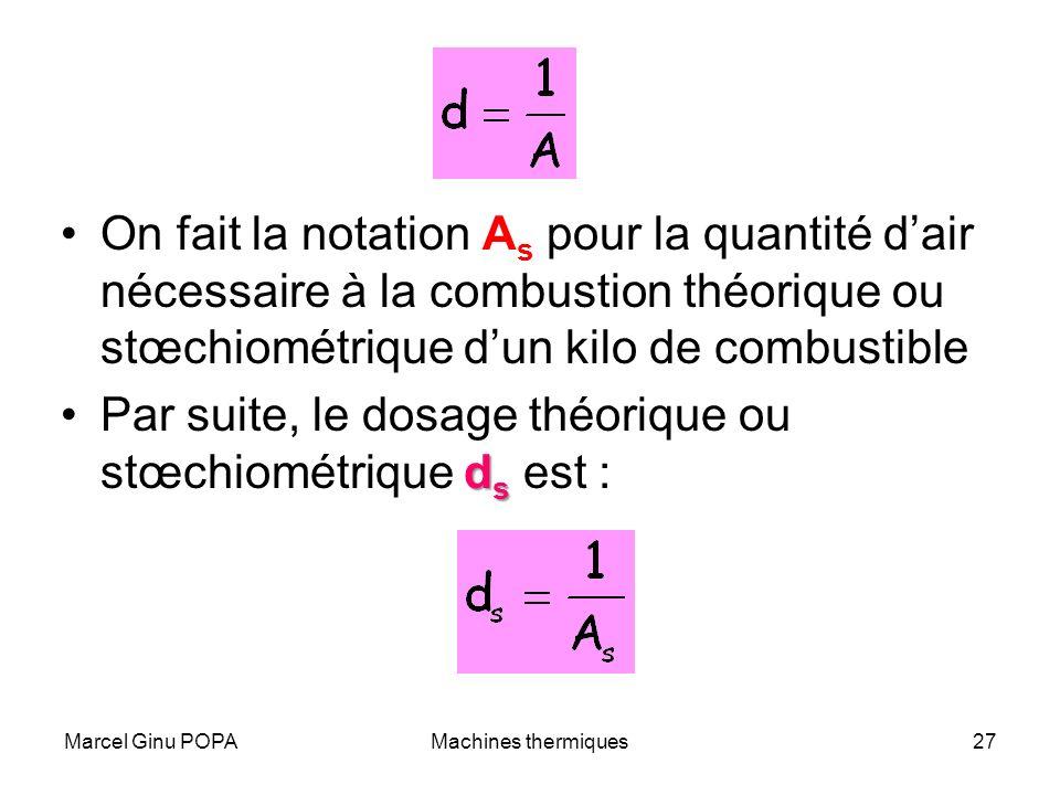 Marcel Ginu POPAMachines thermiques27 On fait la notation A s pour la quantité dair nécessaire à la combustion théorique ou stœchiométrique dun kilo d