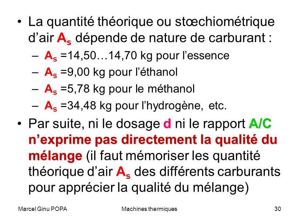 Marcel Ginu POPAMachines thermiques30 La quantité théorique ou stœchiométrique dair A s dépende de nature de carburant : – A s =14,50…14,70 kg pour le