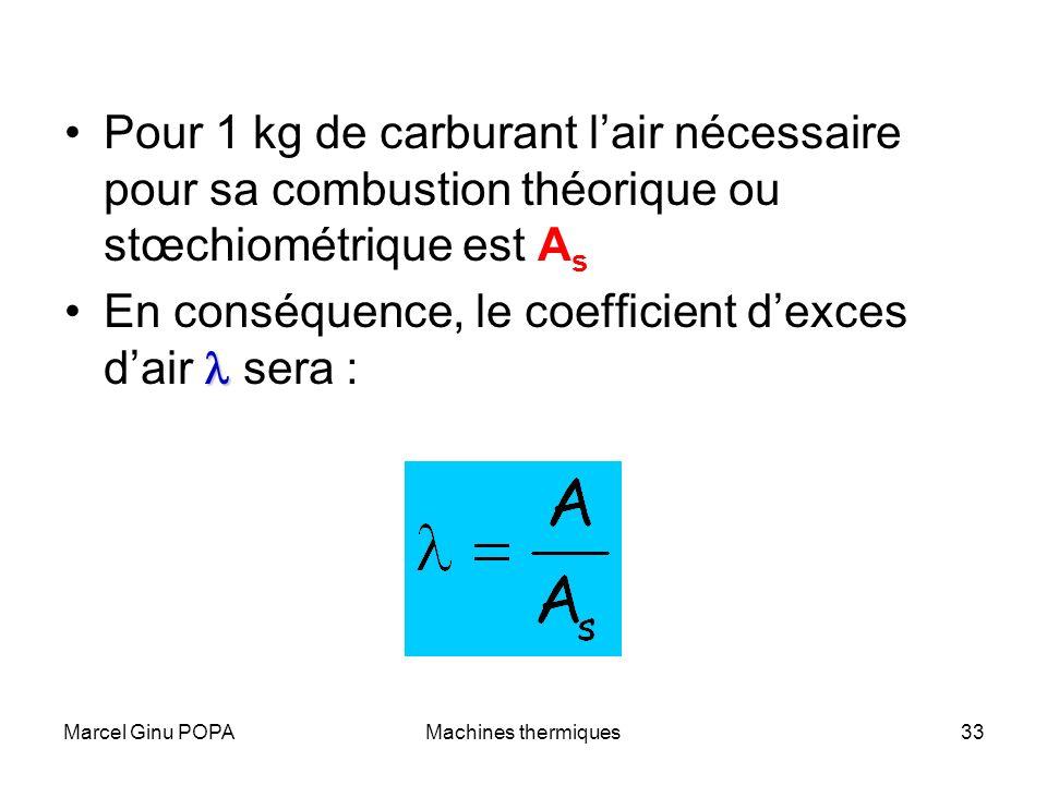 Marcel Ginu POPAMachines thermiques33 Pour 1 kg de carburant lair nécessaire pour sa combustion théorique ou stœchiométrique est A s En conséquence, l