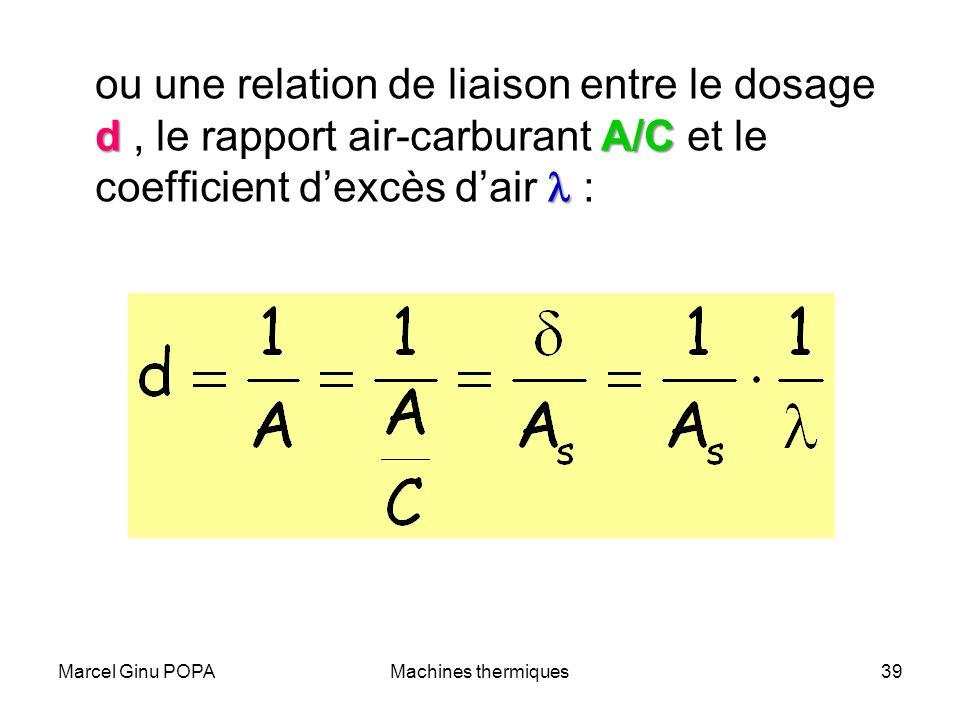 Marcel Ginu POPAMachines thermiques39 dA/C ou une relation de liaison entre le dosage d, le rapport air-carburant A/C et le coefficient dexcès dair :