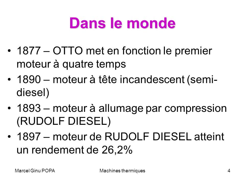 Marcel Ginu POPAMachines thermiques4 Dans le monde 1877 – OTTO met en fonction le premier moteur à quatre temps 1890 – moteur à tête incandescent (sem