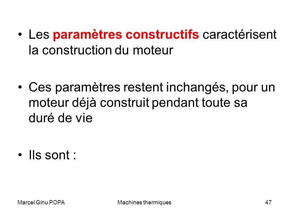 Marcel Ginu POPAMachines thermiques47 Les paramètres constructifs caractérisent la construction du moteur Ces paramètres restent inchangés, pour un mo