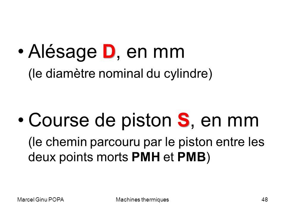 Marcel Ginu POPAMachines thermiques48 DAlésage D, en mm (le diamètre nominal du cylindre) SCourse de piston S, en mm (le chemin parcouru par le piston