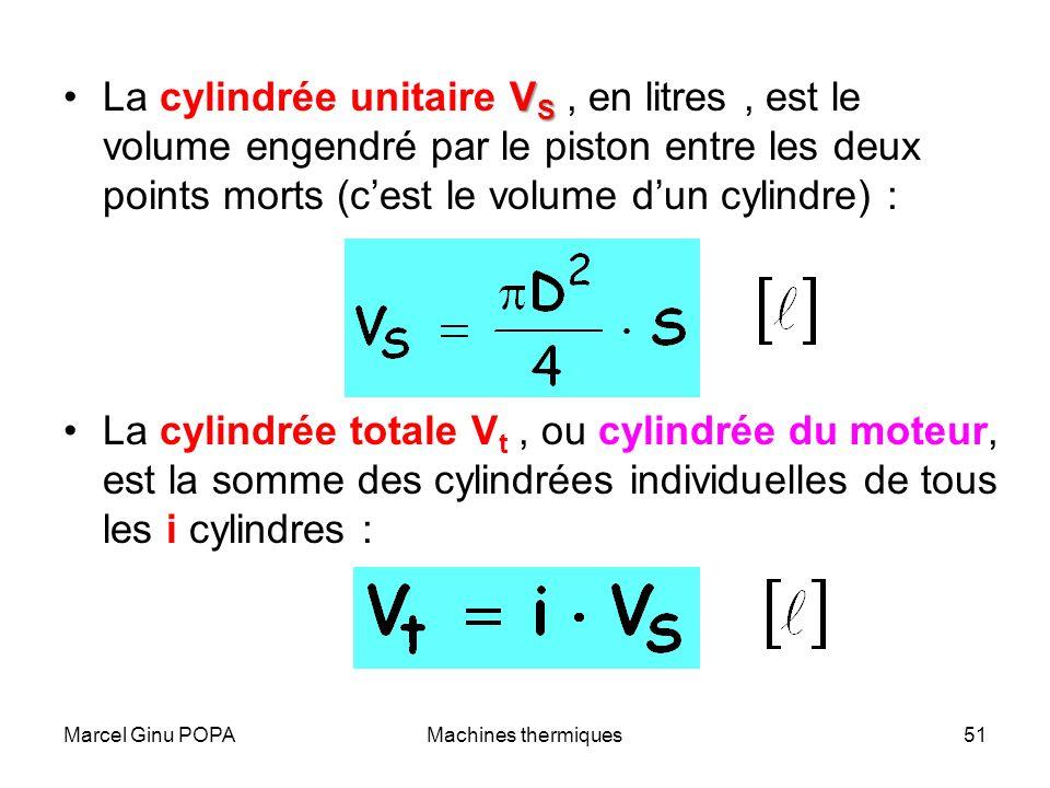 Marcel Ginu POPAMachines thermiques51 V SLa cylindrée unitaire V S, en litres, est le volume engendré par le piston entre les deux points morts (cest