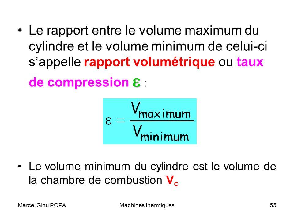 Marcel Ginu POPAMachines thermiques53 Le rapport entre le volume maximum du cylindre et le volume minimum de celui-ci sappelle rapport volumétrique ou