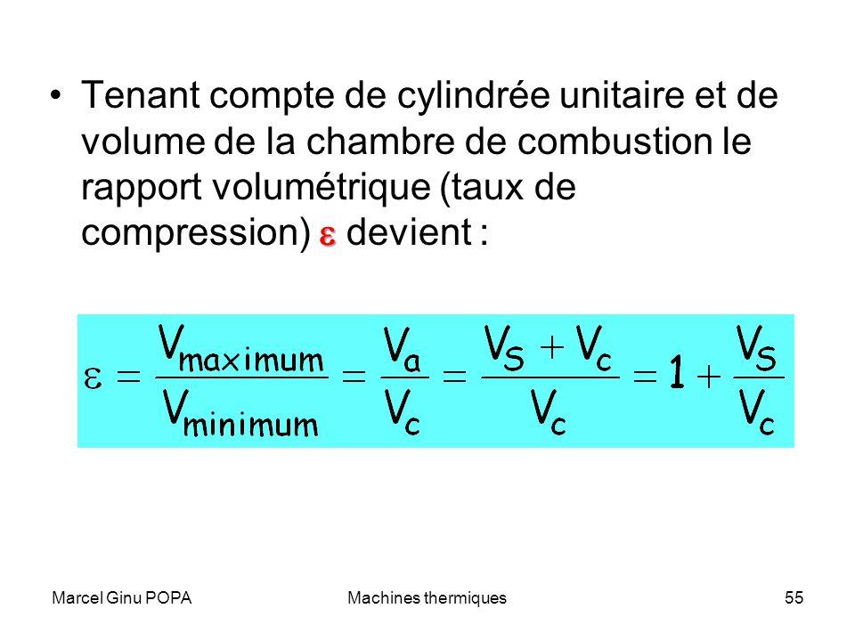 Marcel Ginu POPAMachines thermiques55 Tenant compte de cylindrée unitaire et de volume de la chambre de combustion le rapport volumétrique (taux de co