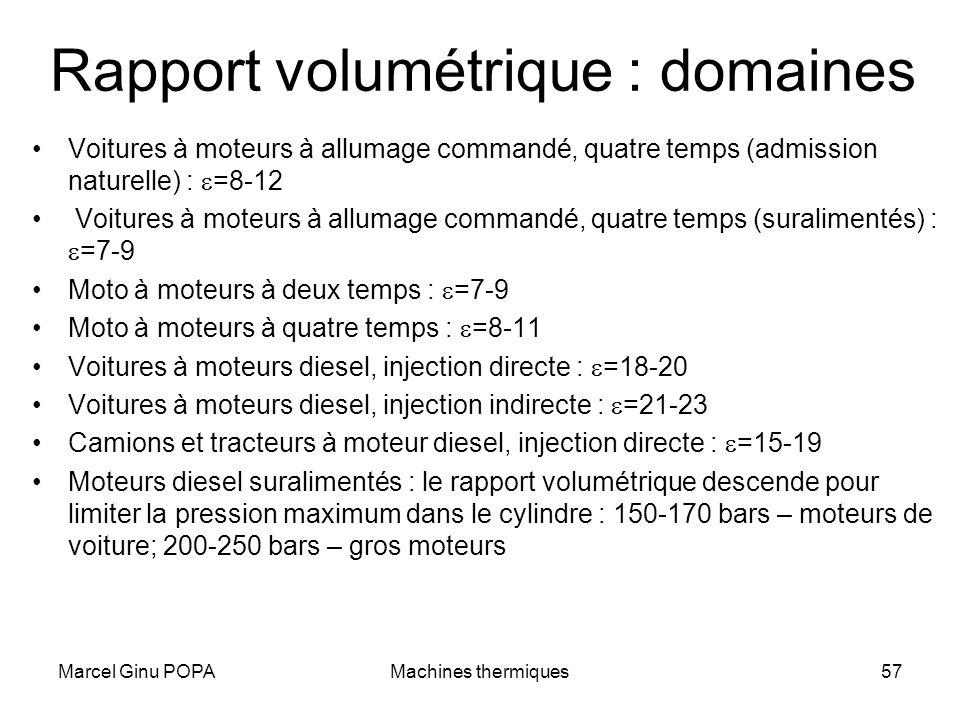 Marcel Ginu POPAMachines thermiques57 Rapport volumétrique : domaines Voitures à moteurs à allumage commandé, quatre temps (admission naturelle) : =8-