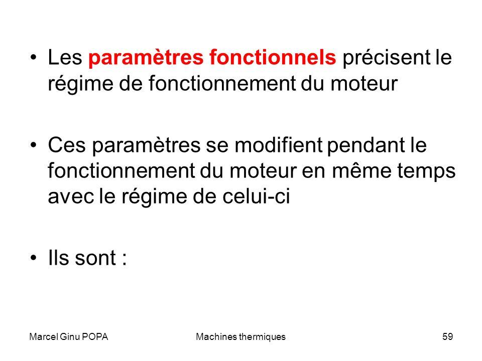 Marcel Ginu POPAMachines thermiques59 Les paramètres fonctionnels précisent le régime de fonctionnement du moteur Ces paramètres se modifient pendant