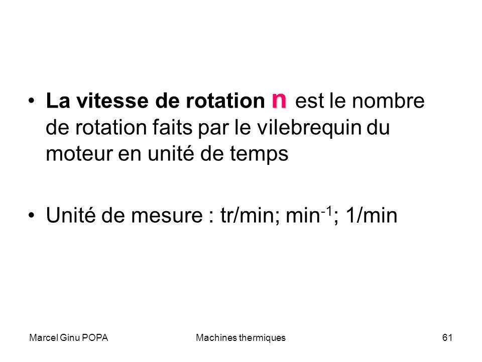 Marcel Ginu POPAMachines thermiques61 nLa vitesse de rotation n est le nombre de rotation faits par le vilebrequin du moteur en unité de temps Unité d
