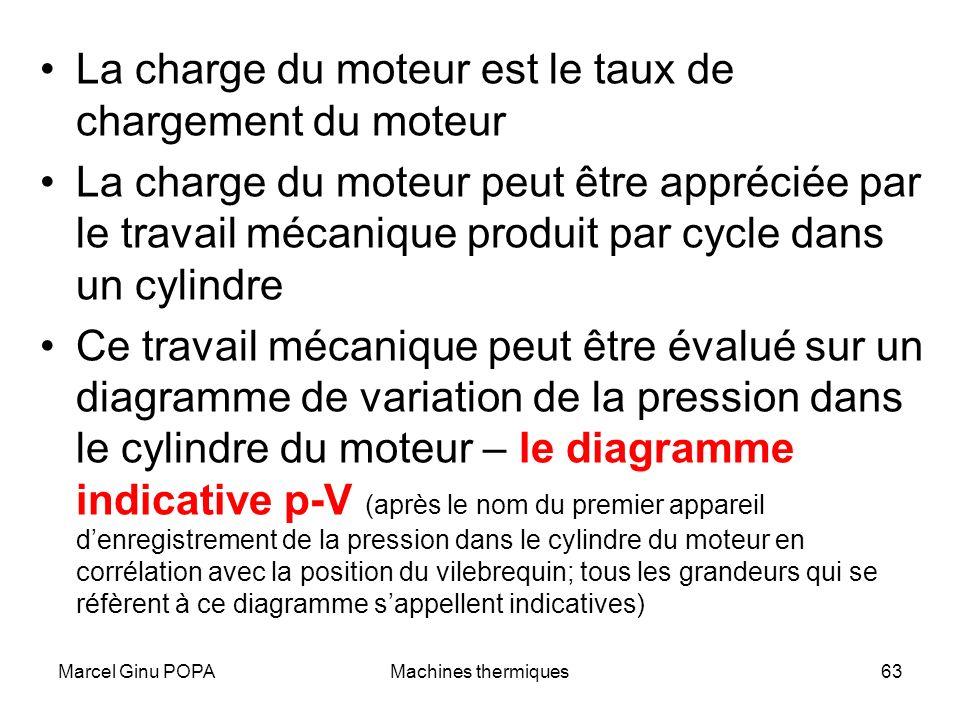 Marcel Ginu POPAMachines thermiques63 La charge du moteur est le taux de chargement du moteur La charge du moteur peut être appréciée par le travail m