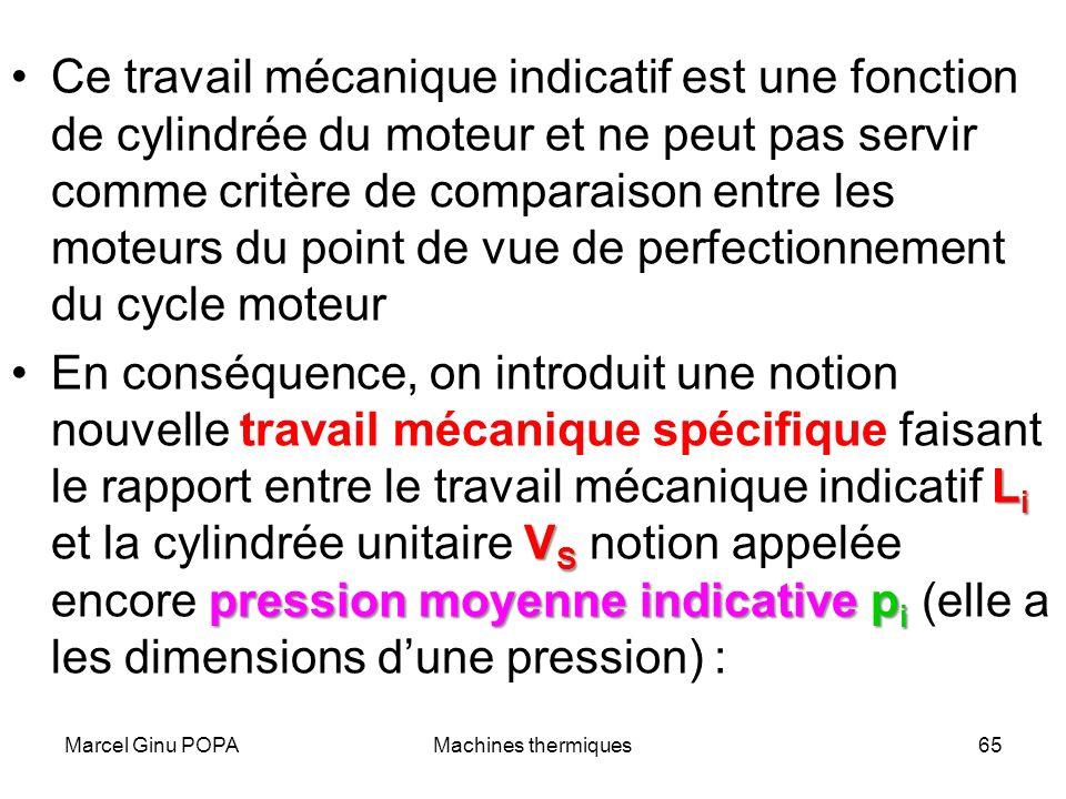 Marcel Ginu POPAMachines thermiques65 Ce travail mécanique indicatif est une fonction de cylindrée du moteur et ne peut pas servir comme critère de co