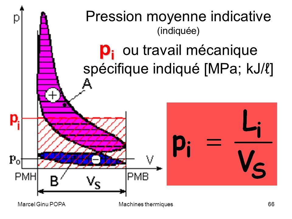 Marcel Ginu POPAMachines thermiques66 p i Pression moyenne indicative (indiquée) p i ou travail mécanique spécifique indiqué [MPa; kJ/]