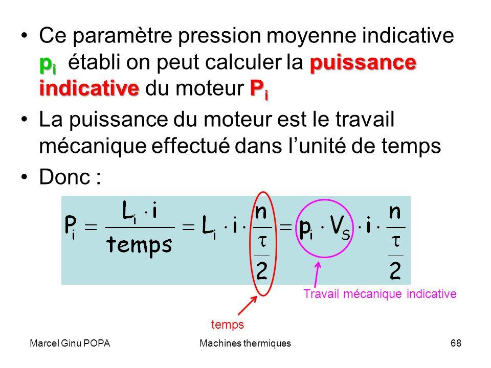 Marcel Ginu POPAMachines thermiques68 p i puissance indicative P iCe paramètre pression moyenne indicative p i établi on peut calculer la puissance in