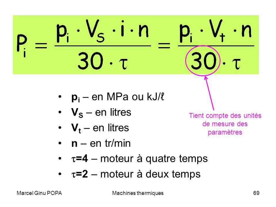 Marcel Ginu POPAMachines thermiques69 p i – en MPa ou kJ/ V S – en litres V t – en litres n – en tr/min =4 – moteur à quatre temps =2 – moteur à deux