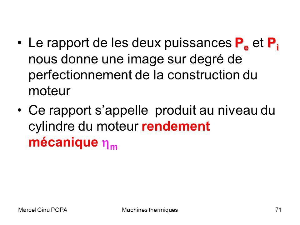 Marcel Ginu POPAMachines thermiques71 P e P iLe rapport de les deux puissances P e et P i nous donne une image sur degré de perfectionnement de la con