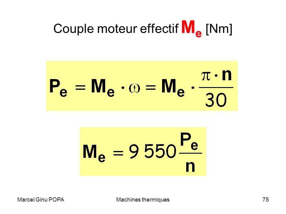 Marcel Ginu POPAMachines thermiques75 M e Couple moteur effectif M e [Nm]